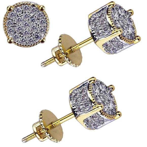 9e2f668966e Men's Gold Round 4 Prong Lab Diamond Stud Earrings Boutique